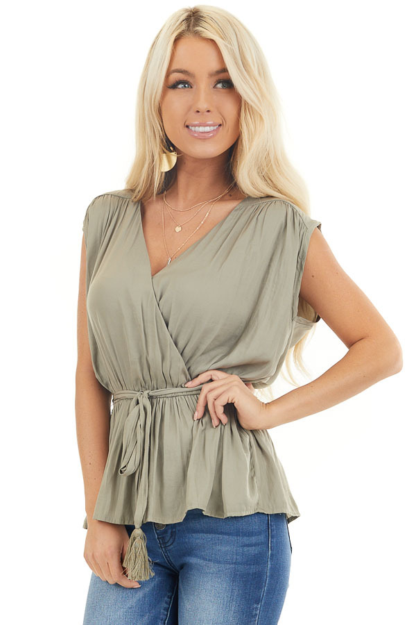 Light Olive Blouse Top with Waist Tie and Tassel Detail front close up