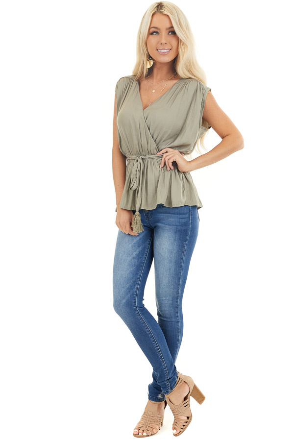 Light Olive Blouse Top with Waist Tie and Tassel Detail front full body