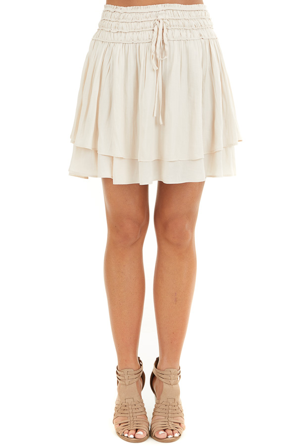 Champagne Mini Skirt with Layer Detail and Drawstring Waist front view