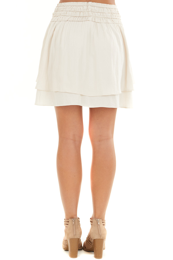 Champagne Mini Skirt with Layer Detail and Drawstring Waist back view