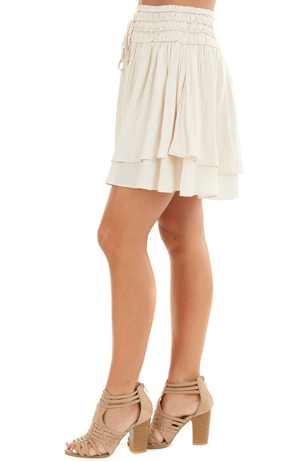 Champagne Mini Skirt with Layer Detail and Drawstring Waist side view