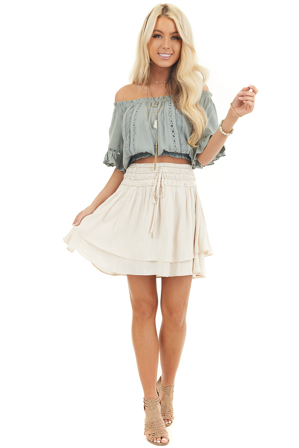 Champagne Mini Skirt with Layer Detail and Drawstring Waist front full body