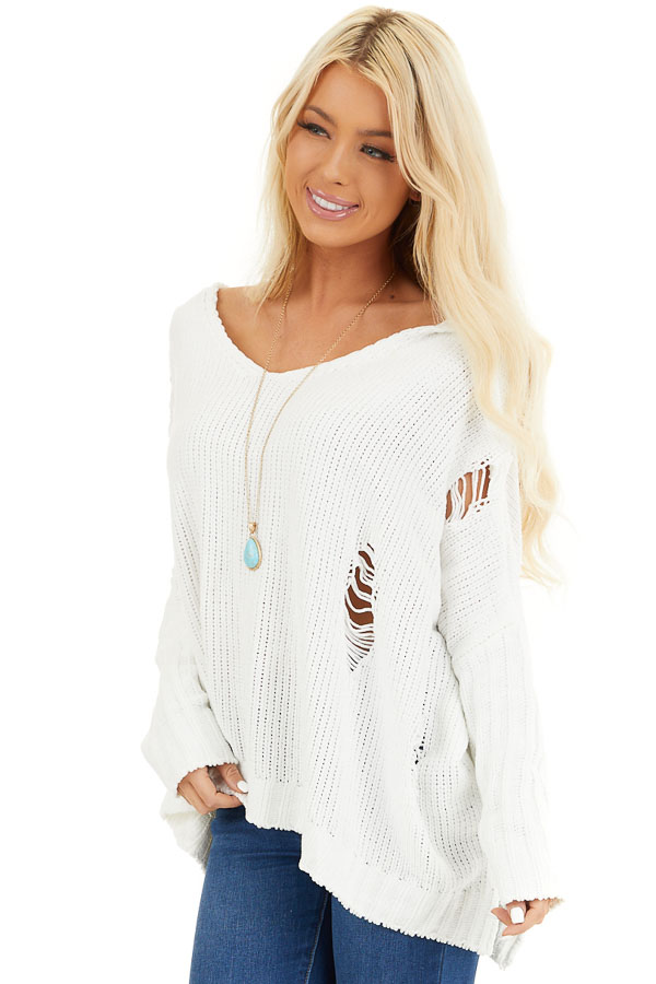 Ivory Oversize Chenille Distressed Sweater with Hood front close up