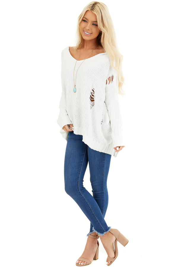 Ivory Oversize Chenille Distressed Sweater with Hood front full body