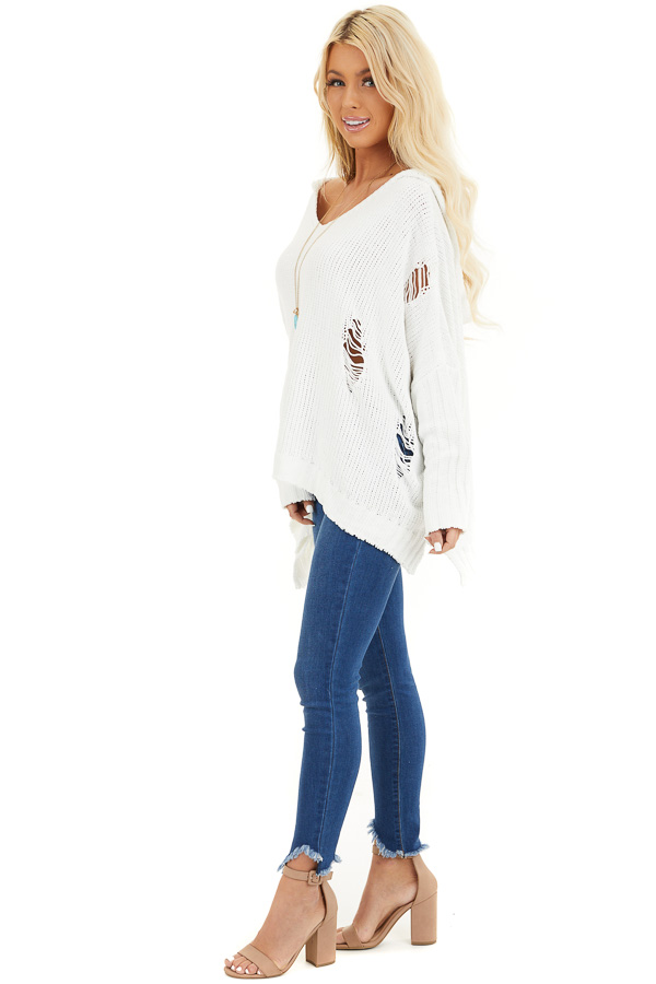 Ivory Oversize Chenille Distressed Sweater with Hood side full body