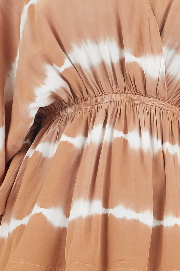 Toffee and Ivory Tie Dye Surplice Blouse with Elastic Waist detail