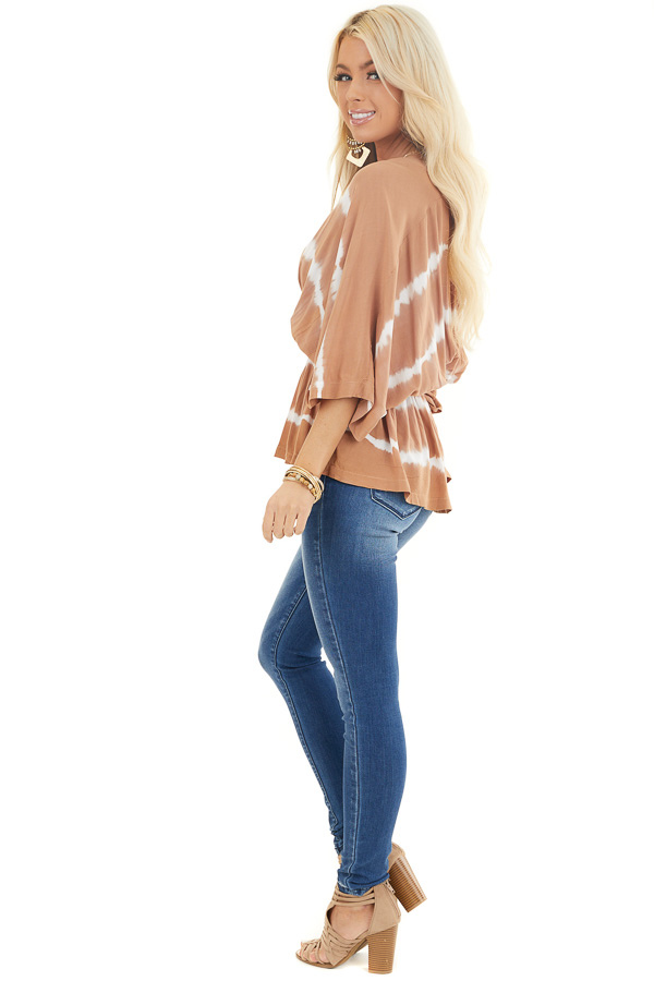 Toffee and Ivory Tie Dye Surplice Blouse with Elastic Waist side full body