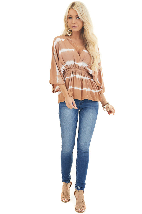 Toffee and Ivory Tie Dye Surplice Blouse with Elastic Waist front full body