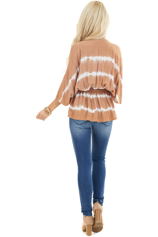 Toffee and Ivory Tie Dye Surplice Blouse with Elastic Waist back full body