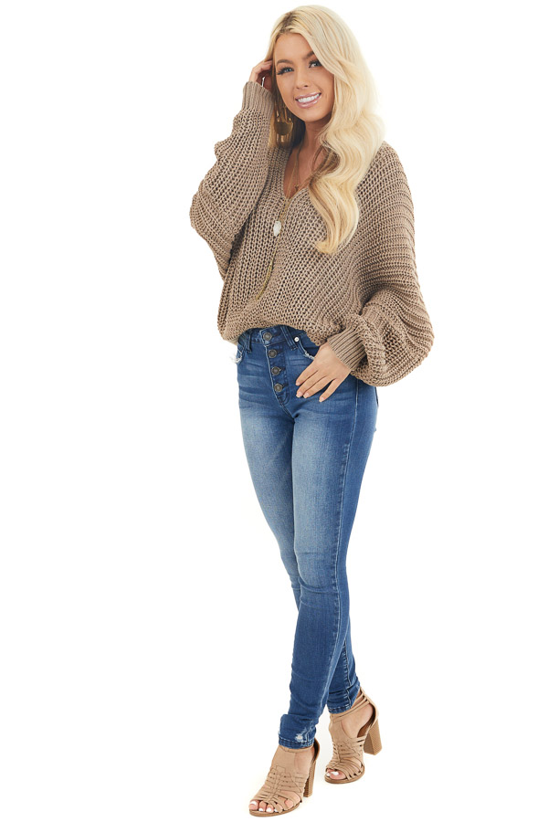 Cocoa Cable Knit V Neck Sweater with Long Dolman Sleeves front full body
