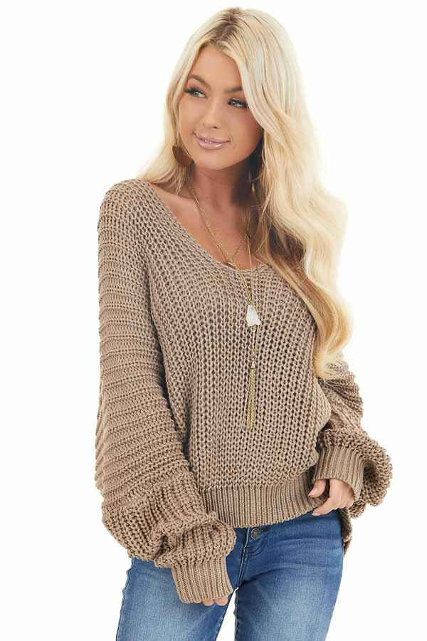 Cocoa Cable Knit V Neck Sweater with Long Dolman Sleeves front close up