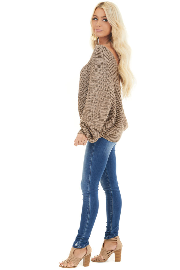 Cocoa Cable Knit V Neck Sweater with Long Dolman Sleeves side full body