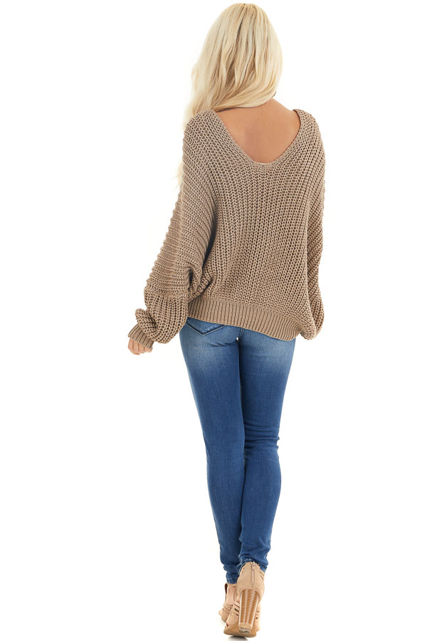 Cocoa Cable Knit V Neck Sweater with Long Dolman Sleeves back full body