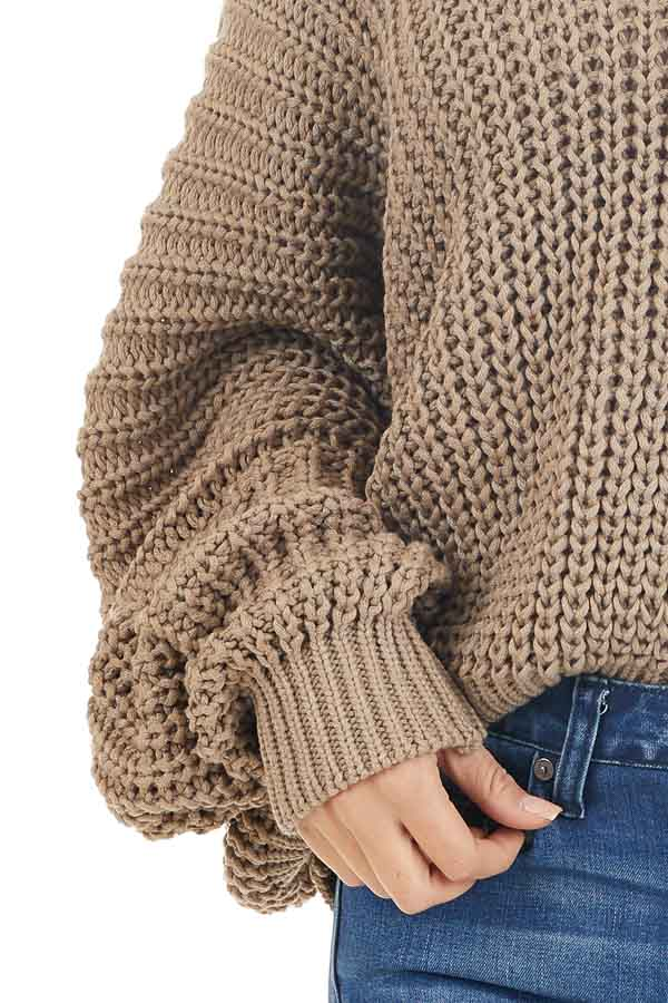 Cocoa Cable Knit V Neck Sweater with Long Dolman Sleeves detail