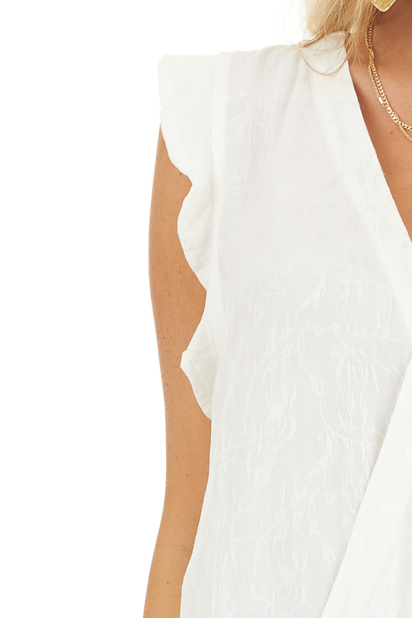 Off White Short Sleeve Surplice Blouse with Deep V Neckline detail