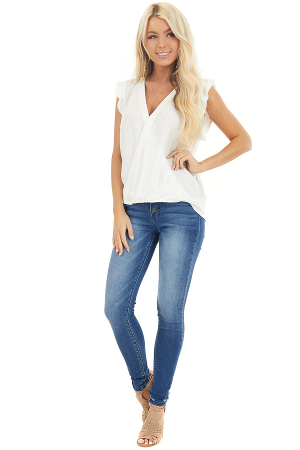 Off White Short Sleeve Surplice Blouse with Deep V Neckline front full body