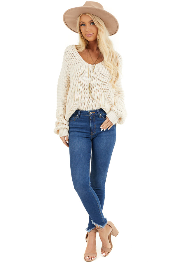 Ivory Cable Knit V Neck Sweater with Long Dolman Sleeves front full body