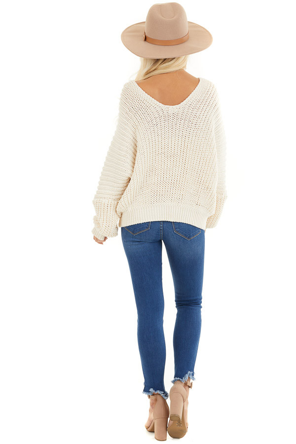 Ivory Cable Knit V Neck Sweater with Long Dolman Sleeves back full body