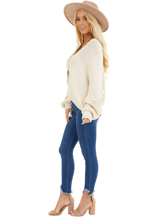 Ivory Cable Knit V Neck Sweater with Long Dolman Sleeves side full body