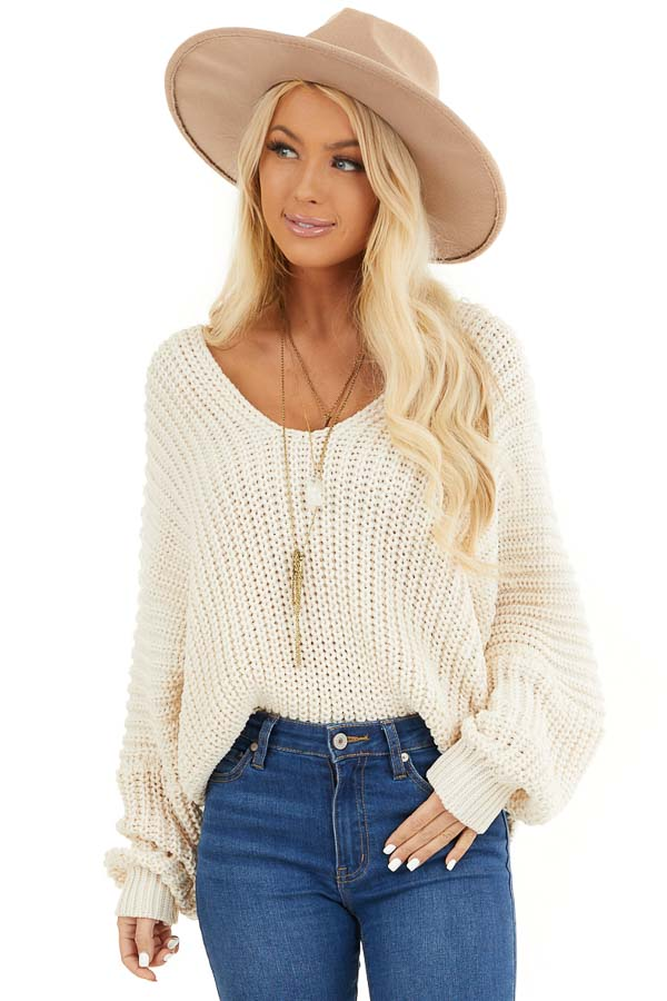 Ivory Cable Knit V Neck Sweater with Long Dolman Sleeves front close up