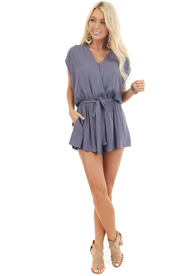 Dusty Blue Surplice Romper with Crochet Detail and Waist Tie front full body