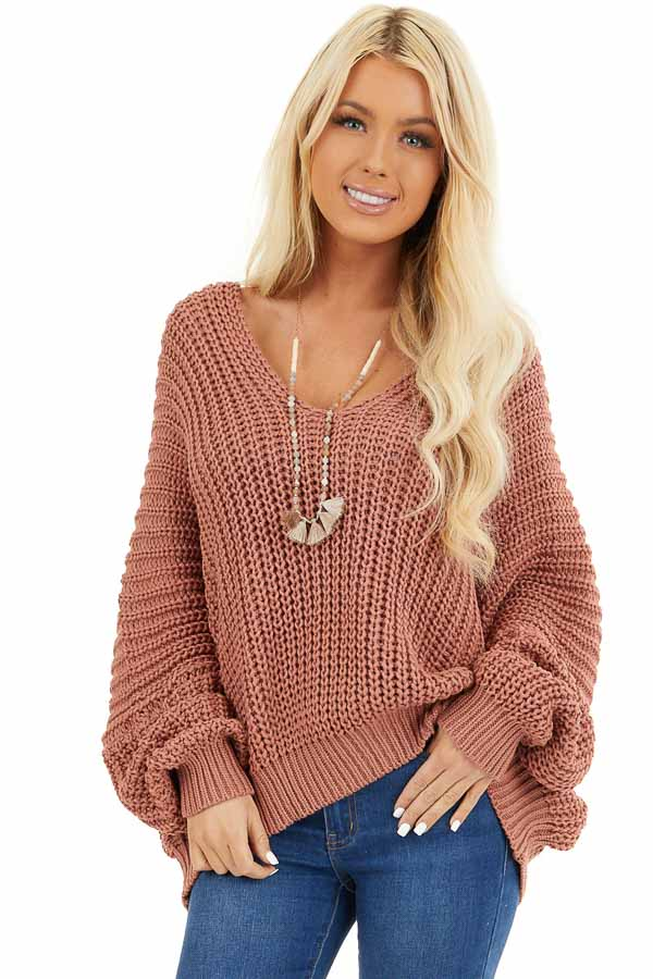 Rust Cable Knit V Neck Sweater with Long Dolman Sleeves front close up
