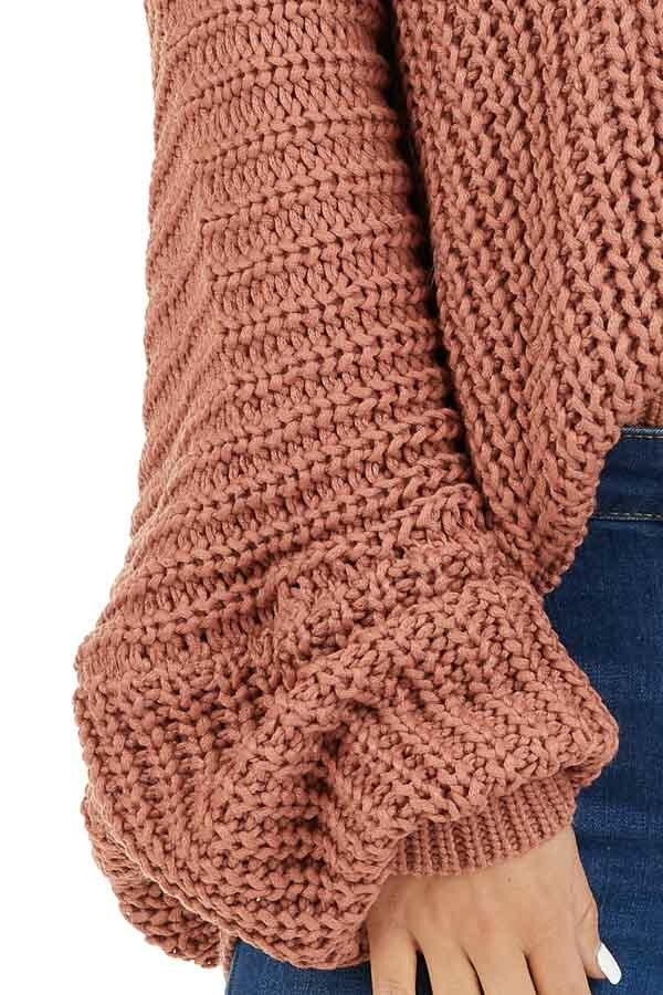 Rust Cable Knit V Neck Sweater with Long Dolman Sleeves detail