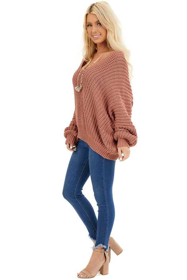 Rust Cable Knit V Neck Sweater with Long Dolman Sleeves side full body