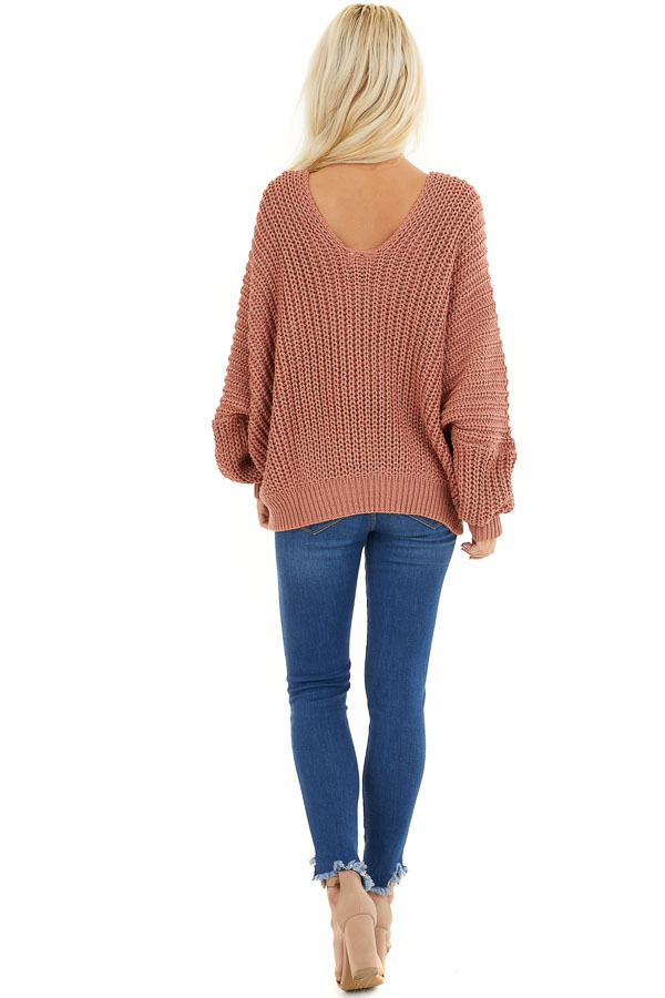 Rust Cable Knit V Neck Sweater with Long Dolman Sleeves back full body