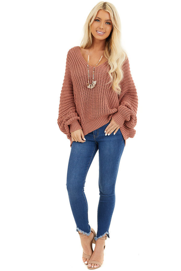 Rust Cable Knit V Neck Sweater with Long Dolman Sleeves front full body