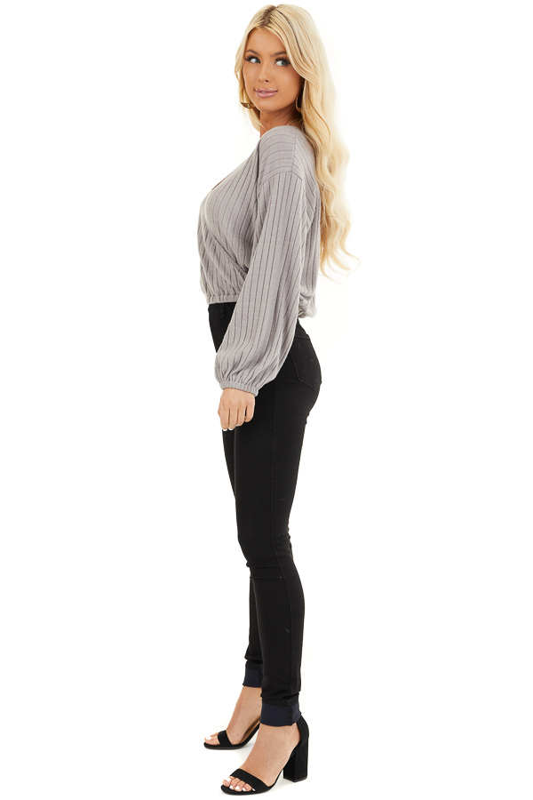 Light Taupe Ribbed Surplice Knit Top with Long Sleeves side full body