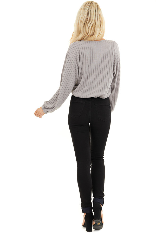 Light Taupe Ribbed Surplice Knit Top with Long Sleeves back full body
