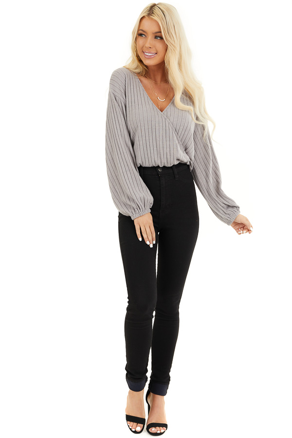 Light Taupe Ribbed Surplice Knit Top with Long Sleeves front full body