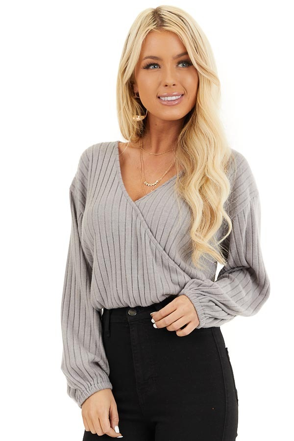 Light Taupe Ribbed Surplice Knit Top with Long Sleeves front close up