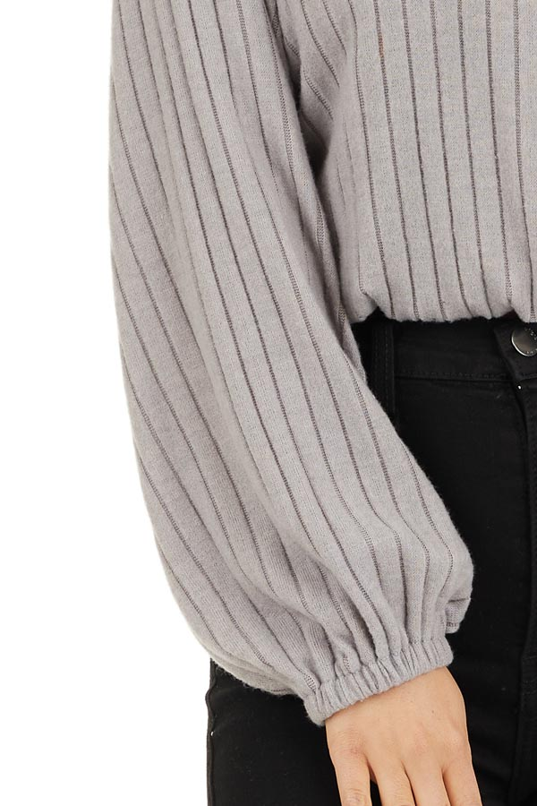 Light Taupe Ribbed Surplice Knit Top with Long Sleeves detail