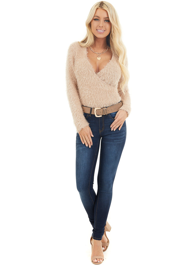 Beige Fuzzy Surplice Long Sleeve Sweater Top front full body