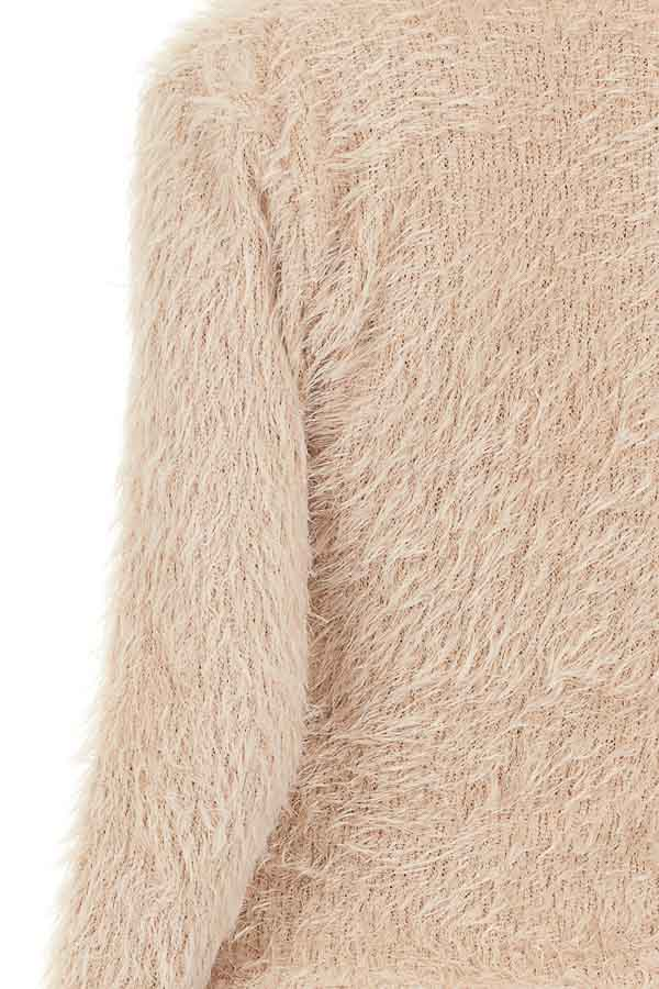 Beige Fuzzy Surplice Long Sleeve Sweater Top detail