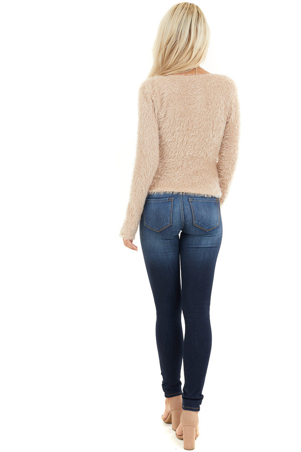 Beige Fuzzy Surplice Long Sleeve Sweater Top back full body