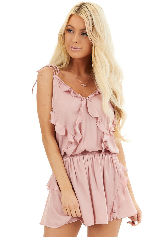 Dusty Blush Sleeveless Silky Romper with Ruffle Detail front close up