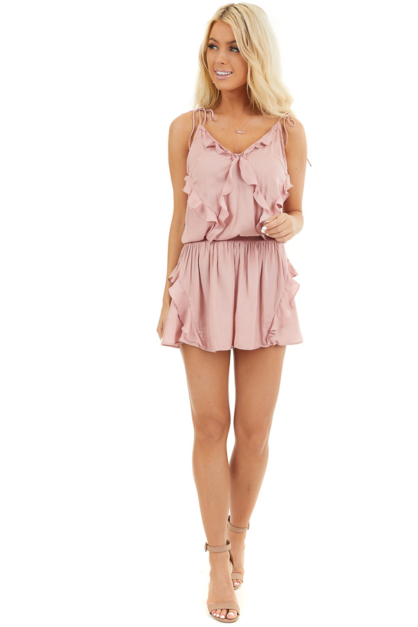 Dusty Blush Sleeveless Silky Romper with Ruffle Detail front full body