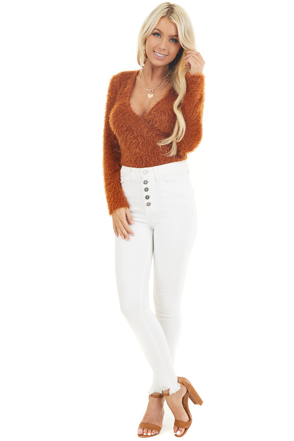 Rust Fuzzy Surplice Long Sleeve Sweater Top front full body