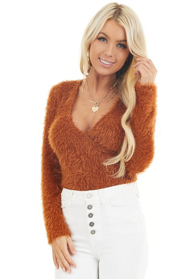 Rust Fuzzy Surplice Long Sleeve Sweater Top front close up