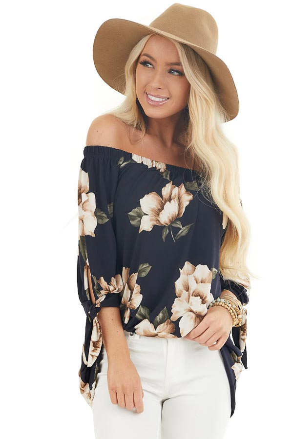 Navy Floral Print Off the Shoulder Top with Sleeve Ties front close up