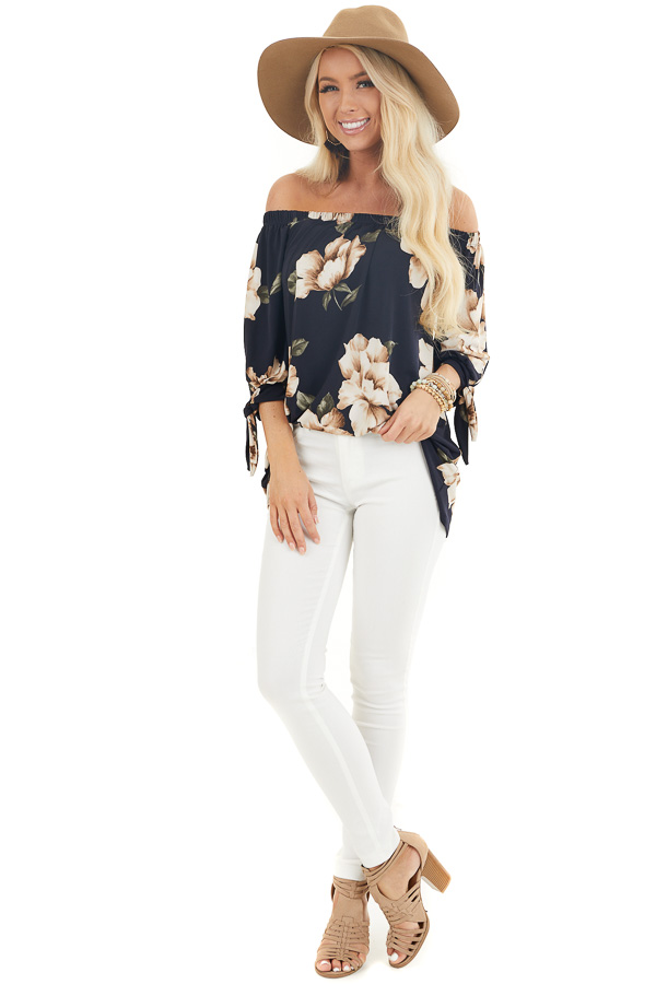 Navy Floral Print Off the Shoulder Top with Sleeve Ties front full body