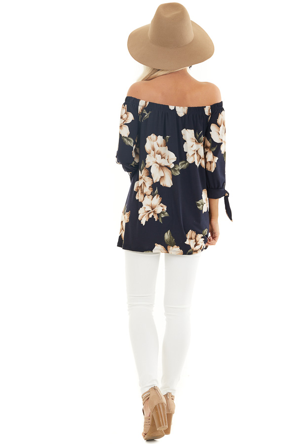 Navy Floral Print Off the Shoulder Top with Sleeve Ties back full body