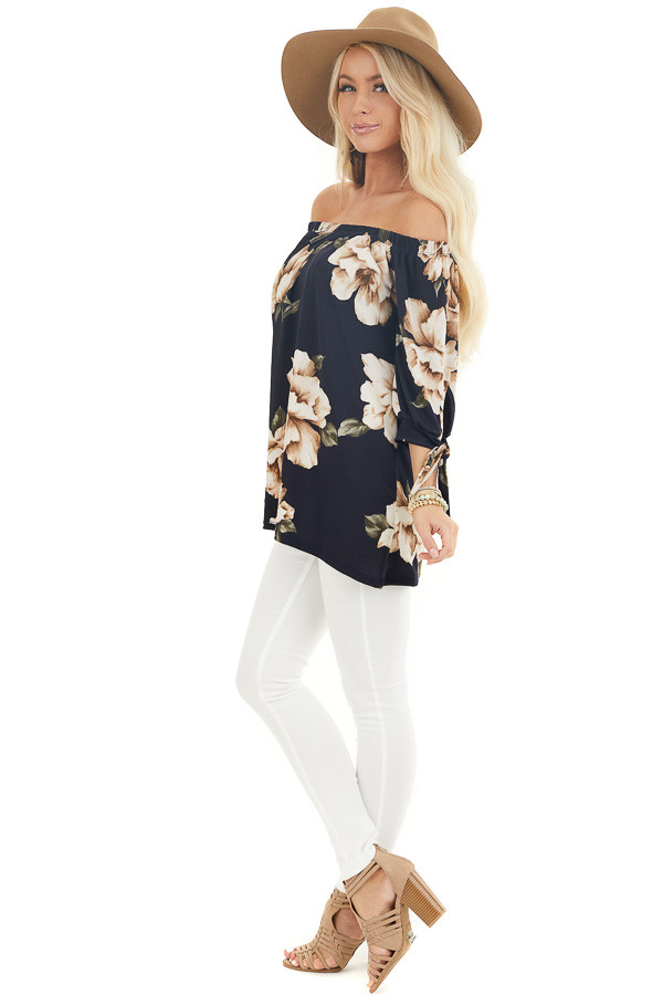Navy Floral Print Off the Shoulder Top with Sleeve Ties side full body