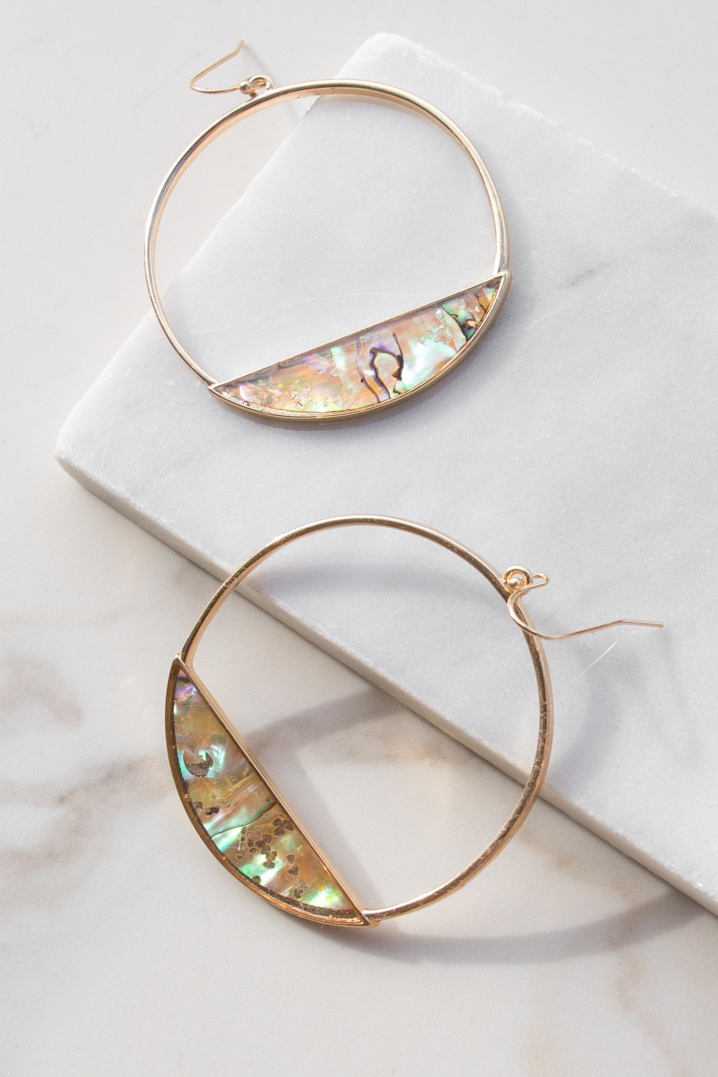 Gold Hoop Earrings with Abalone Detail