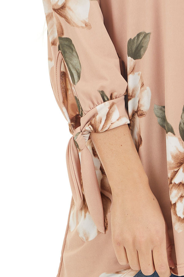 Dusty Blush Floral Print Off Shoulder Top with Sleeve Ties detail