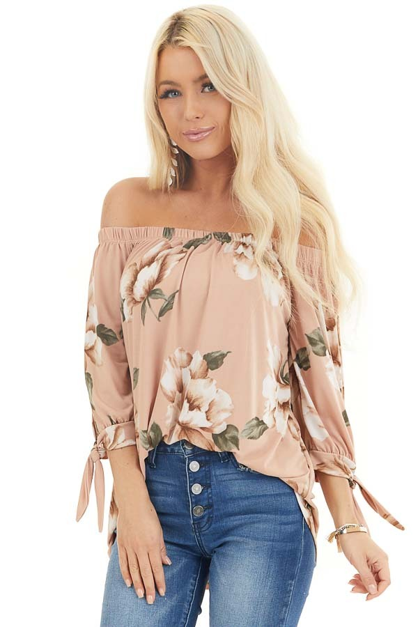 Dusty Blush Floral Print Off Shoulder Top with Sleeve Ties front close up