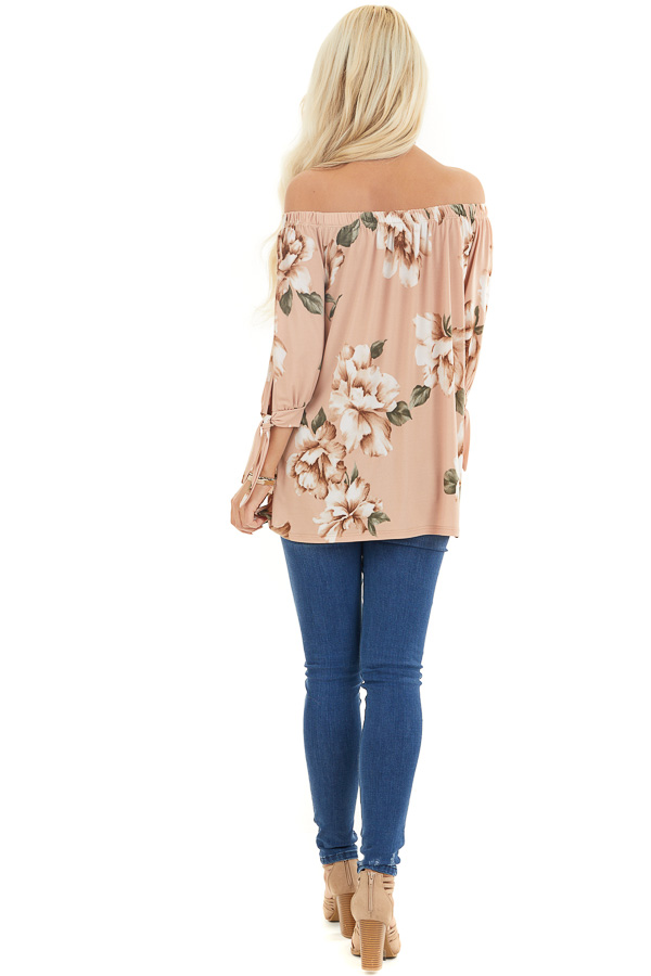 Dusty Blush Floral Print Off Shoulder Top with Sleeve Ties back full body